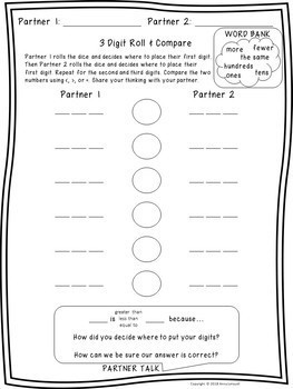 NO PREP 2nd Grade 3 Digit Roll and Compare