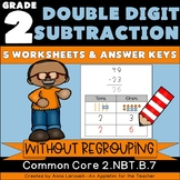 NO PREP 2nd Grade Double Digit Subtraction WITHOUT Regrouping Worksheets