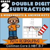 NO PREP 2nd Grade Double Digit Subtraction WITH Regrouping Worksheets