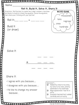 NO PREP 3-Digit Addition Math Game: Roll It, Build It, Solve It, Share It