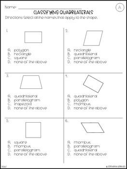NO PREP 3rd Grade Classifying Quadrilaterals Worksheets & Answer Keys