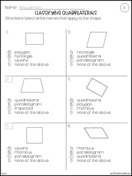 NO PREP 3rd Grade Classifying Quadrilaterals Worksheets & Answer Keys
