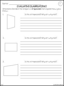 NO PREP 3rd Grade Evaluating Quadrilaterals Worksheets & Answer Keys