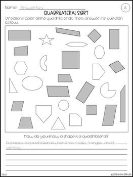 NO PREP 3rd Grade Quadrilateral Sort Worksheets & Answer Keys