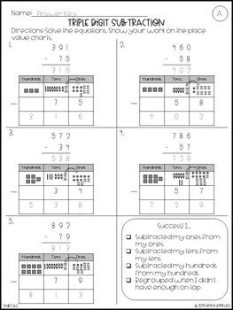 NO PREP 3rd Grade Triple Digit Subtraction WITH Regrouping ...