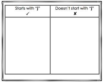 NO PREP 4 (j, k, p, b) Beginning Consonants Sorts K-2 Independent Work!