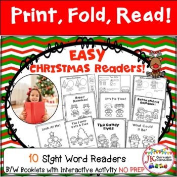 Easy NO PREP Christmas Booklets for Beginning Readers