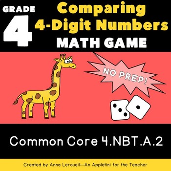 NO PREP 4th Grade 4 Digit Roll and Compare Game