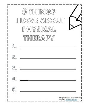 NO PREP 5 Things I Love About My Therapist, Etc. Packet