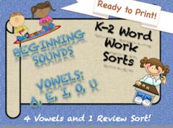 NO PREP 5 (a, e, i, o, u) Beginning Vowel Sorts K-2! (Orto
