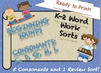 NO PREP 5 (c, d, g, m, l) Beginning Consonants Sorts K-2 Independent Work!