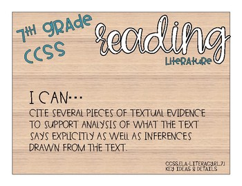 "NO PREP 7th Grade ELA CCSS ""I Can"" Posters"