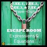 ⭐NO PREP 7th Grade Expressions & Equations Math Escape Room⭐