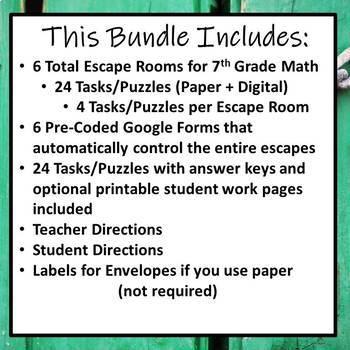 image regarding Printable Escape Room Puzzles named ⭐NO PREP 7th Quality Math Escape Rooms Bundle⭐