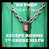 ⭐NO PREP 7th Grade Math Escape Rooms Bundle⭐Distance Learning