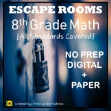 ⭐NO PREP 8th Grade Math Escape Rooms Bundle⭐