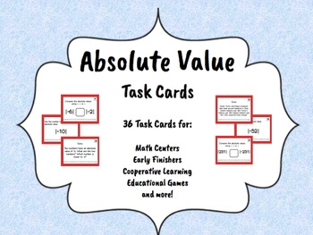 Absolute Value Task Cards - LOW/NO PREP ACTIVITIES
