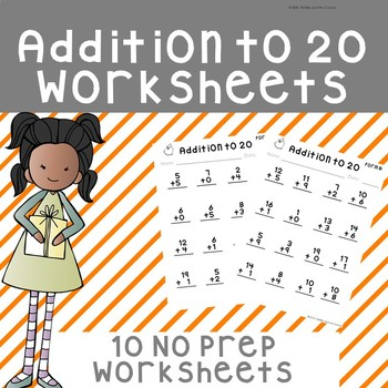 NO PREP Addition to 20 Worksheets
