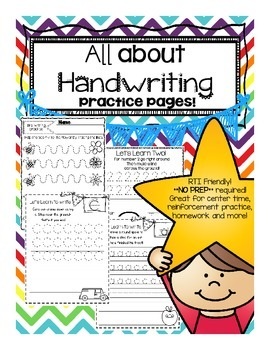 *PRINT and GO*  All About Handwriting Practice Pages