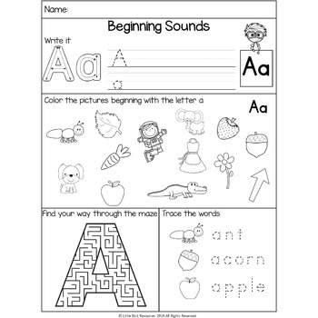NO PREP Alphabet Beginning Sounds Mixed Worksheets