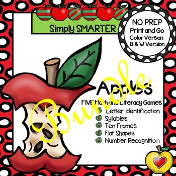 NO PREP Apple Themed Math and Literacy Games Bundle