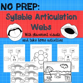 NO PREP: Articulation Syllable Webs with placement visuals and worksheets