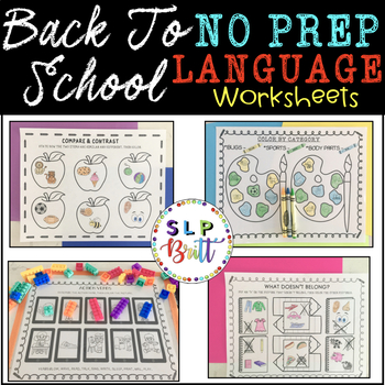NO PREP, BACK TO SCHOOL - LANGUAGE (SPEECH & LANGUAGE THERAPY)