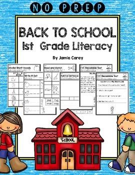NO PREP Back to School 1st Grade Literacy