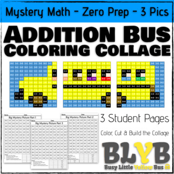 NO PREP Back to School Bus Mystery Math Coloring Picture - Simple Addition