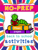 NO PREP Back to School Packet