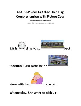 NO PREP Back to School Reading Comprehension WH Questions with Picture Cues
