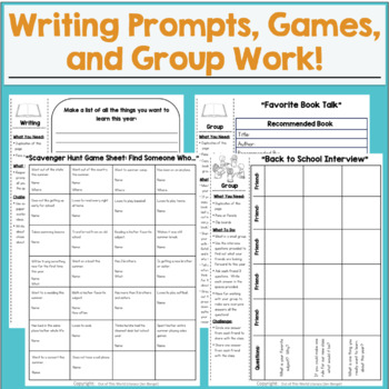 Back to School NO PREP Reading & Writing Packet: {Grades 2-6}