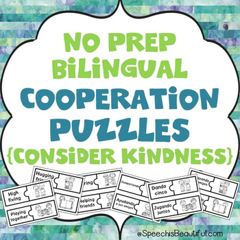NO PREP Bilingual Cooperation Puzzles - Consider Kindness