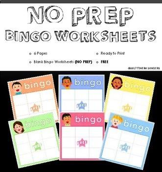 NO PREP Bingo Worksheets