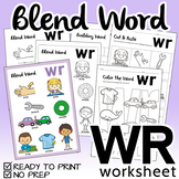 "NO PREP! Blend Word ""WR"" Worksheet"