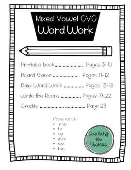 NO PREP CVC Mixed Vowel Word Work