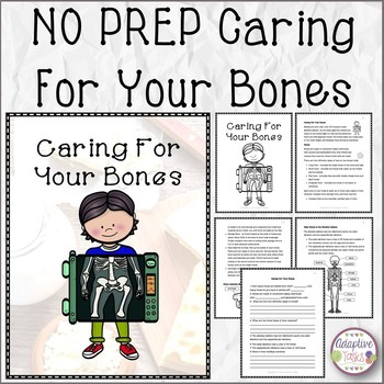 NO PREP Caring For Your Bones Story and Worksheets