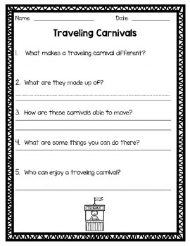NO PREP Carnival Themed Comprehension Passages and Activities