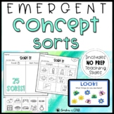 NO PREP Category / Concept Sorts   Emergent Spellers Word