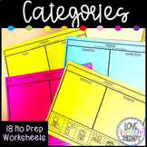 Category Worksheets - NO PREP Cut and Paste