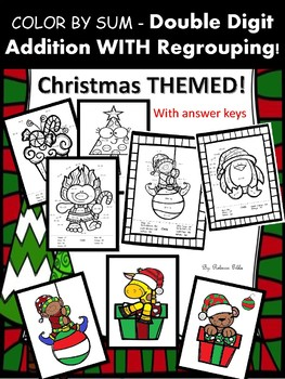 NO PREP Christmas Color by Sum 2-digit Addition WITH Regrouping!