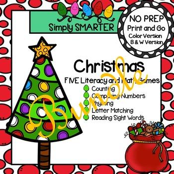 NO PREP Christmas Themed Math and Literacy Games Bundle