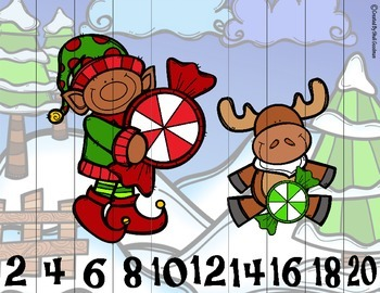 NO PREP - Christmas Skip Counting Puzzles 1's, 2's, 5's and 10's