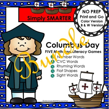 NO PREP Columbus Day Themed Math and Literacy Games Bundle