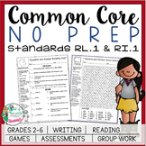 No Prep Reading and Writing: Standard 1 {includes tests and quizzes!}