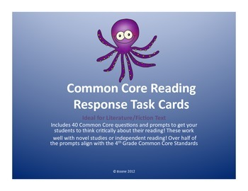 NO PREP Common Core Reading Task Cards (Ideal for any fiction/literature books)