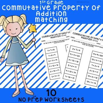 NO PREP Commutative Property of Addition Worksheets 1st Grade