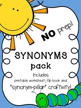 "NO PREP! Complete Synonym Pack! ""Synonym-pillar"" Craftivity, Worksheet and more!"