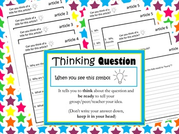 NO PREP Comprehension Articles with Response Packs K-2