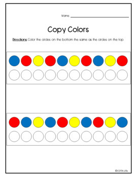 NO PREP Copy Colors Worksheet Packet